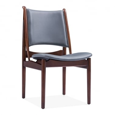Jonah Wooden Dining Chair, Faux Leather Seat, Grey