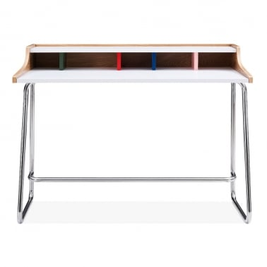 Phoenix Home Office Desk, Ash Wood and Steel, Rainbow