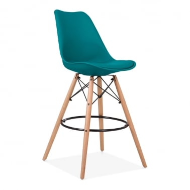 Soft Pad Bar Stool with Backrest, DSW Style Natural Wood Leg, Marine Blue 65cm