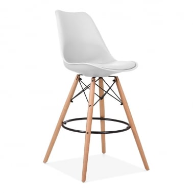 Soft Pad Bar Stool with Backrest, DSW Style Natural Wood Leg, White 65cm