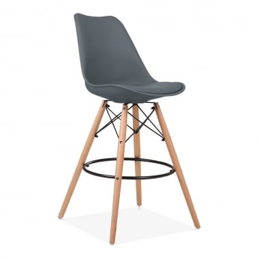Soft Pad Bar Stool with Backrest, DSW Style Natural Wood Leg, Grey 65cm