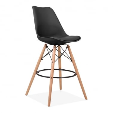 Soft Pad Bar Stool with Backrest, DSW Style Natural Wood Leg, Black 65cm