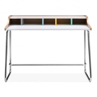 Phoenix Home Office Desk, Ash Wood and Steel, Pastel