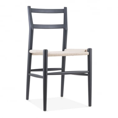 Leon Beech Wood Dining Chair with Woven Seat, Dark Grey & Natural