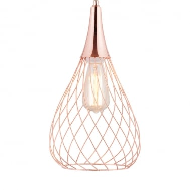 Nova Small Cage Pendant Light, Copper