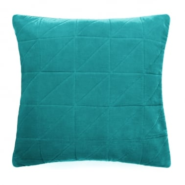 Geometric Quilted Velvet Cushion, Teal
