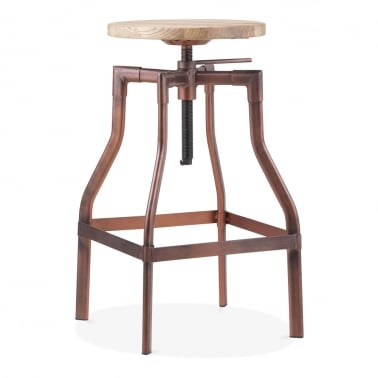 Industrial Swivel Adjustable Bar Stool - Vintage Copper 62-82cm