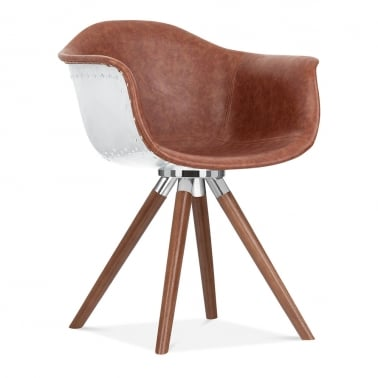 Moda Aviator Armchair CD2, Brown Faux Leather