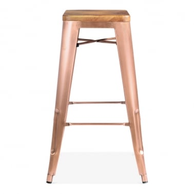Tolix Style Bar Stool with Natural Wood Seat - Light Copper 75cm