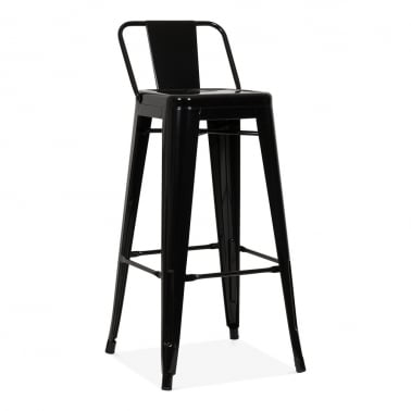 Tolix Style Metal Bar Stool with Low Back Rest - Black 75cm