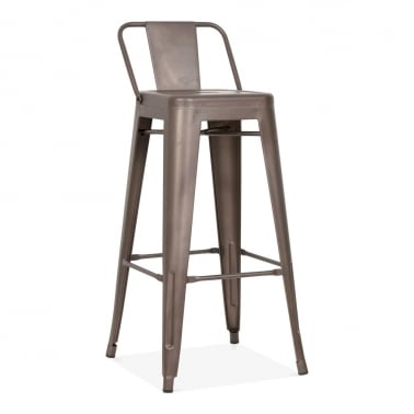 Tolix Style Metal Bar Stool with Low Back Rest - Rustic 75cm