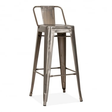 Tolix Style Metal Bar Stool with Low Back Rest - Gunmetal 75cm