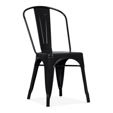 Tolix Style Metal Side Chair - Black