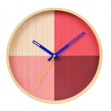 Flor Wooden Wall Clock, Red