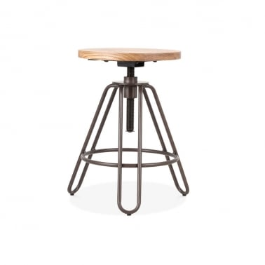 Hairpin Talbot Swivel Stool, Solid Elm Wood, Rustic 49-61cm