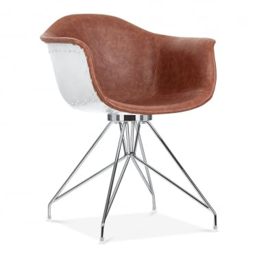 Moda Aviator Armchair CD1, Brown Faux Leather
