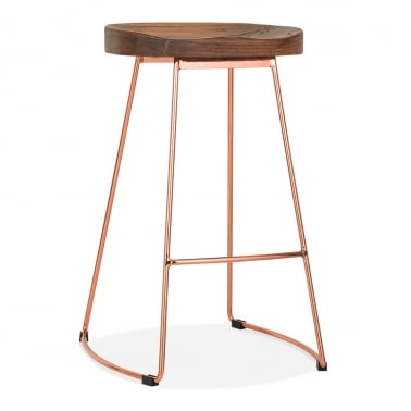 victoria metal bar stool with wood seat option copper 75cm