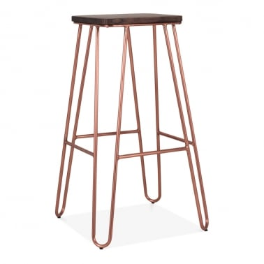 Hairpin Square Bar Stool, Solid Elm Wood, Copper 76cm