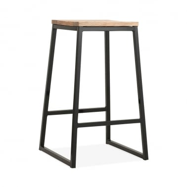 Consec Metal Bar Stool, Solid Elm Wood, Black 65cm