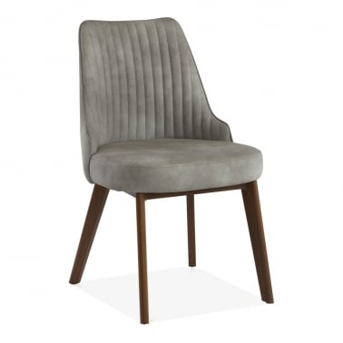 Albert Scoop Back Dining Chair, Faux Leather Upholstered, Grey