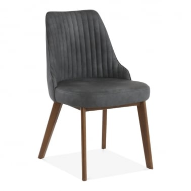 Albert Scoop Back Dining Chair, Faux Leather Upholstered, Black