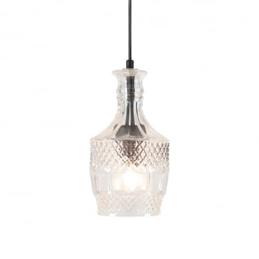 Brandy Decanter Glass Pendant Light, Clear