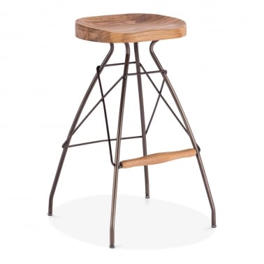 Atlas Metal Bar Stool, Solid Elm Wood, Rustic 76cm