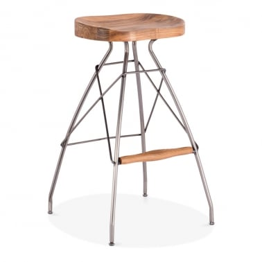 Atlas Metal Bar Stool, Solid Elm Wood, Gunmetal 76cm