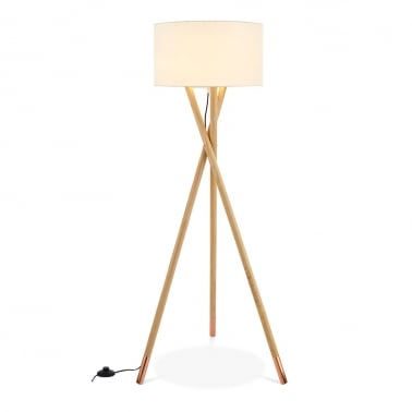 Albany Wooden Tripod Floor Lamp, Natural Finish