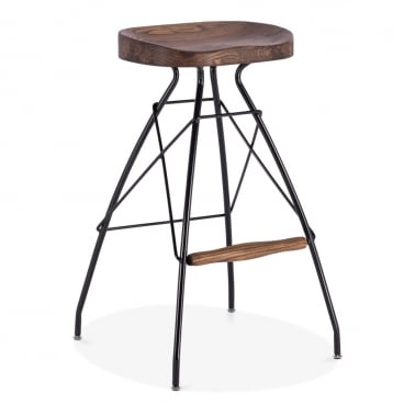 Atlas Metal Bar Stool, Solid Elm Wood, Black 76cm