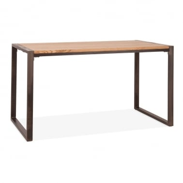 Gastro Metal Dining Table, Solid Elm Wood, Rustic 140cm