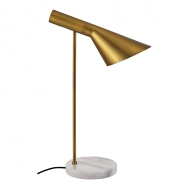 Veda Modern Table Lamp, White Marble Base, Brass