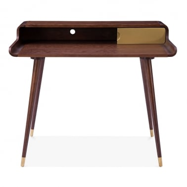 Astrid Home Office Desk, Ash Wood, Brown and Gold