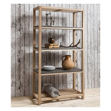 Arden Open Shelving Unit, Oak and Concrete Effect