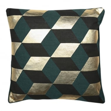 Zante Geometric Diamond Cushion, Green and Gold