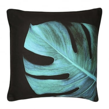 Philo Monstera Palm Leaf Cushion, Black and Green