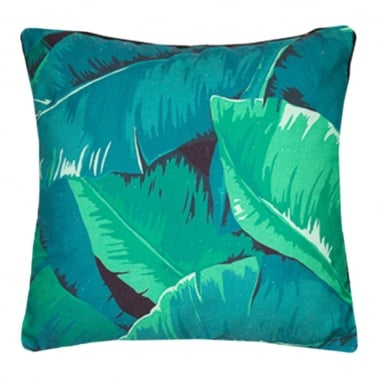 Lush Banana Leaf Print Cushion, Green