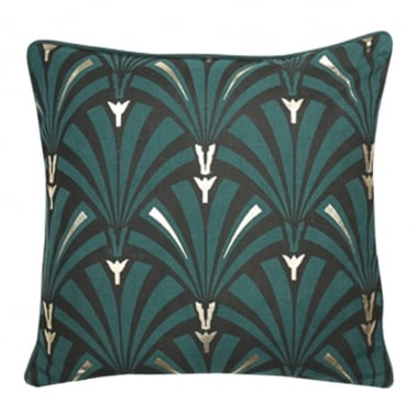Art Deco Flapper Cushion, Green and Gold