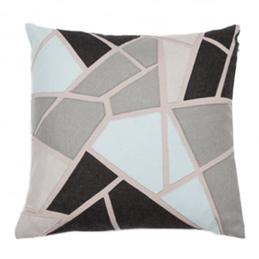 Geometric Applique Felt Patch Cushion, Blue