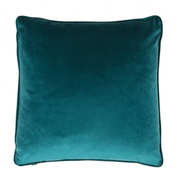 Piped Edge Velvet Fabric Cushion, Teal