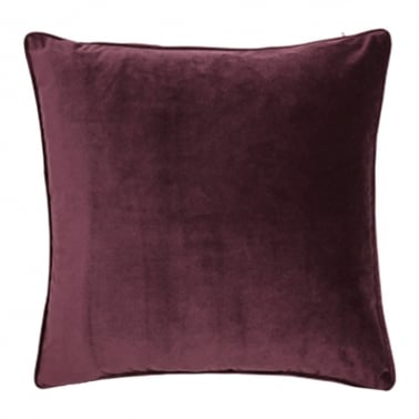 Piped Edge Velvet Fabric Cushion, Burgundy