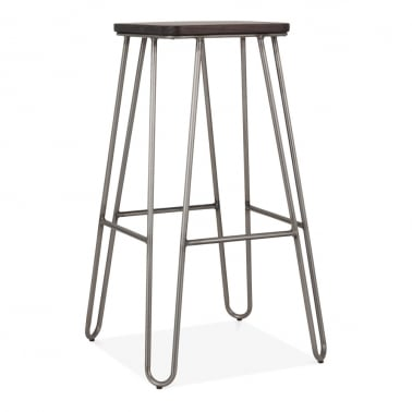Hairpin Square Metal Bar Stool with Dark Wood Seat, Gunmetal 76cm