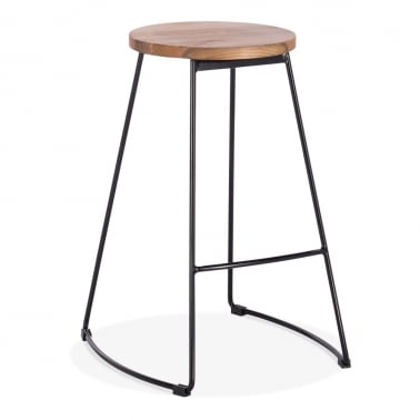Jonas Metal Bar Stool, Round Elm Wood Seat, Black 65cm