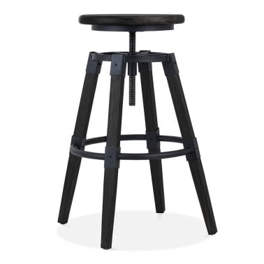 Bastille Round High Swivel Stool, Black 68-75cm