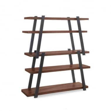 Gemini Wooden Ladder Bookshelf, Walnut