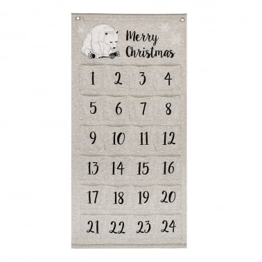 Christmas Wall Hanging Advent Calendar with Pockets, Natural Cotton