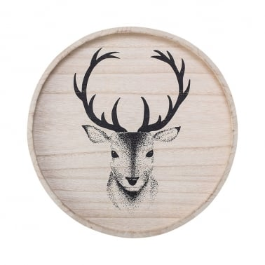 Noel Stag Head Wooden Serving Tray, Natural