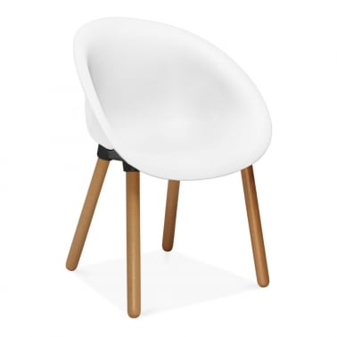 Mona Plastic Dining Chair, Solid Beech Wood Leg, White