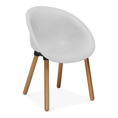 Mona Plastic Dining Chair, Solid Beech Wood Leg, Light Grey