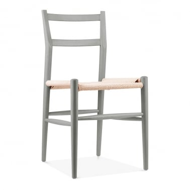 Leon Beech Wood Dining Chair and Woven Seat, Light Grey